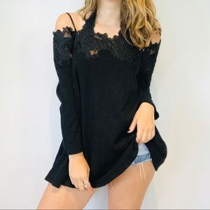 Anthro Meadow Rue black crochet lace off shoulder